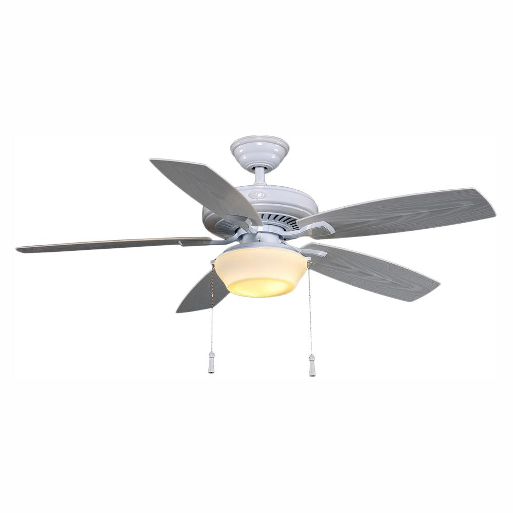 Hampton Bay Gazebo 52 in. LED Indoor/Outdoor White Ceiling Fan with Light Kit