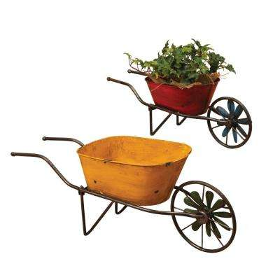 22.8 in. x 8.7 in. Multi-Color Metal Wheelbarrow Planters with Wind Spinner Wheels (2-Set)