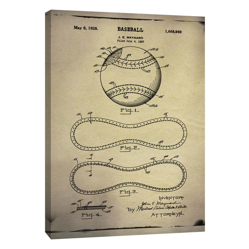 PTM Images 12.in x 10.in \'\'Baseball Patent Buff\'\' Printed Canvas ...