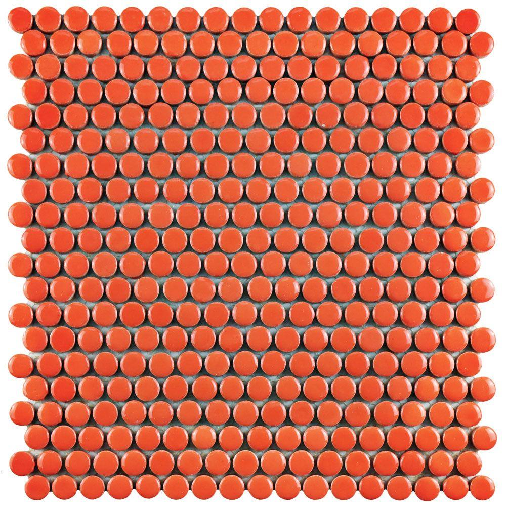 merola tile quasar penny round orange in x 11