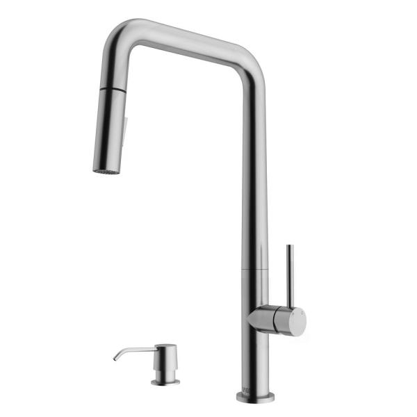 Parsons Single-Handle Pull-Down Sprayer Kitchen Faucet with Soap Dispenser in Stainless Steel
