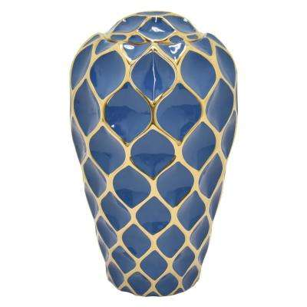 16.15 in. Porcelain Jar - Blue and Gold