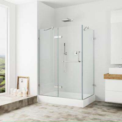 Monteray 48.125 in. x 79.25 in. Frameless Pivot Shower Door in Brushed Nickel with Clear Glass and Left Base