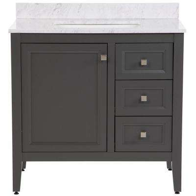 Darcy 37 in. W x 22 in. D Bath Vanity in Shale Gray with Stone Effects Vanity Top in Lunar with White Sink