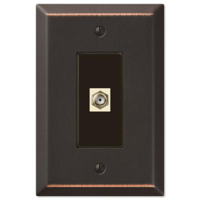 Oversized 1 Gang Coax Steel Wall Plate - Aged Bronze