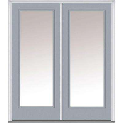 60 in. x 80 in. Classic Left-Hand Inswing Full Lite Clear Glass Painted Steel Prehung Front Door with Brickmould