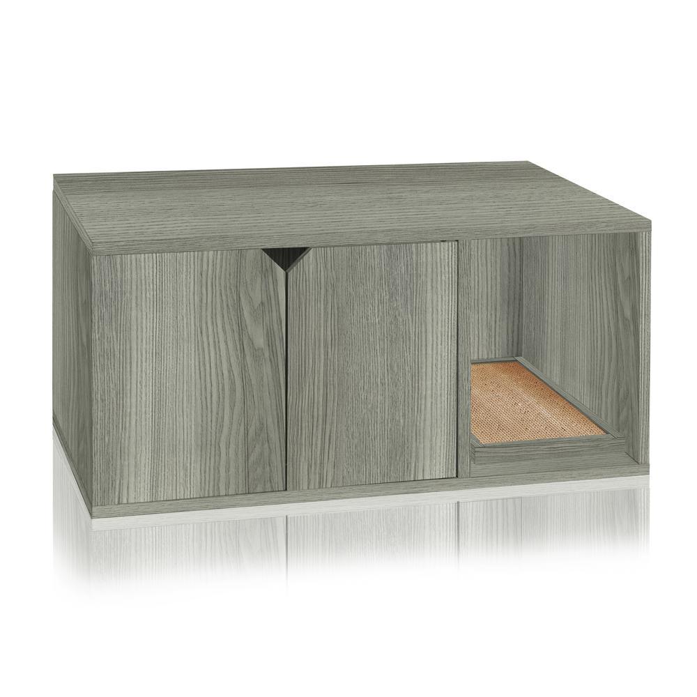 Way Basics Eco zBoard Grey Modern Cat Litter Box Enclosure Furniture