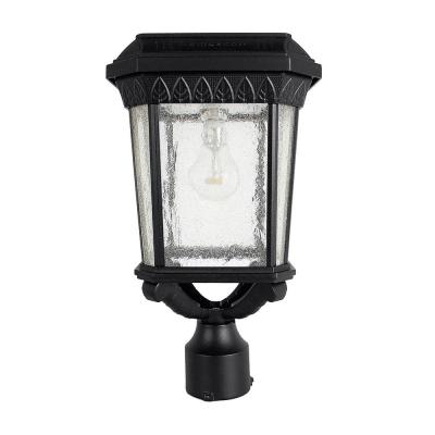 Colonial Outdoor Black Integrated LED Post Light with 3 in. Fitter and GS Solar LED Light Bulb