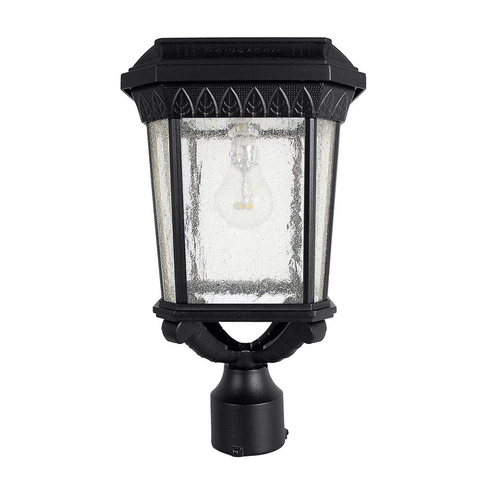 GamaSonic Gama Sonic Colonial Outdoor Black Integrated LED Post Light with 3 in. Fitter and GS Solar LED Light Bulb
