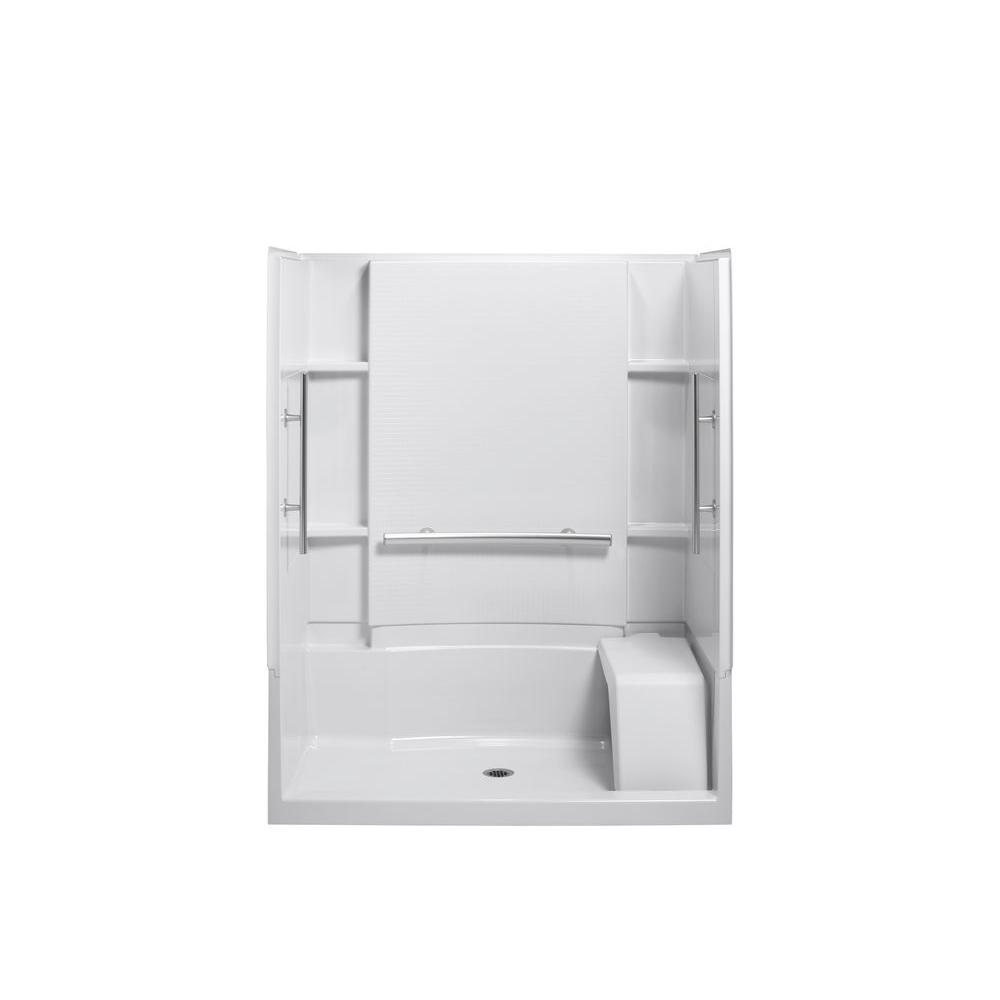 STERLING Accord Seated 36 in. x 60 in. x 74-1/2 in. Shower Kit with Grab Bars in White-DISCONTINUED