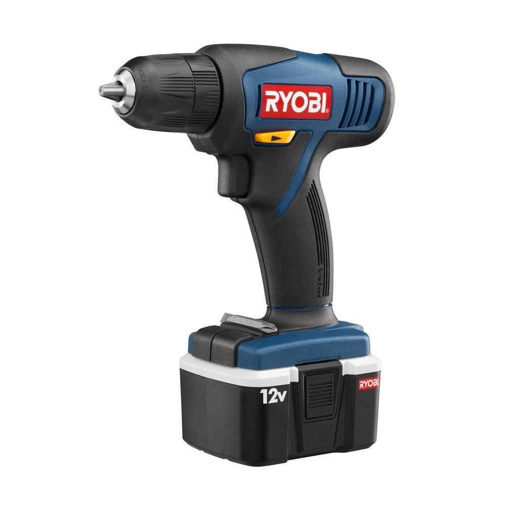 ryobi reconditioned 12 volt cordless ni cad drill kit zrhp612k the home depot. Black Bedroom Furniture Sets. Home Design Ideas