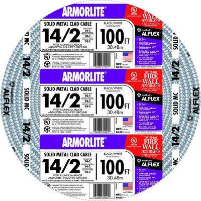14/2 x 100 ft. Solid CU MC (Metal Clad) Armorlite Cable