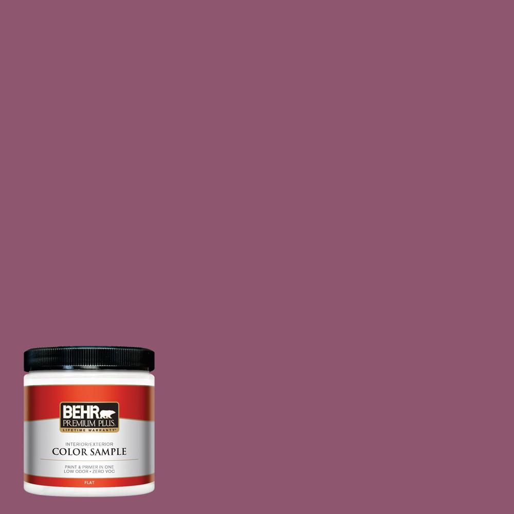 8 oz. #PPU1-17 Majestic Orchid Flat Interior/Exterior Paint and Primer in