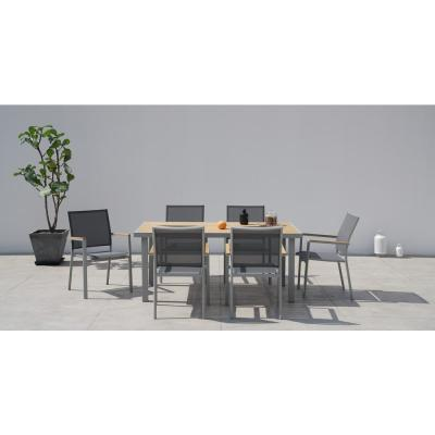 Essence Grey Seagull 7-Piece Aluminum Rectangular Outdoor Dining Set with Sling Set in Pewter