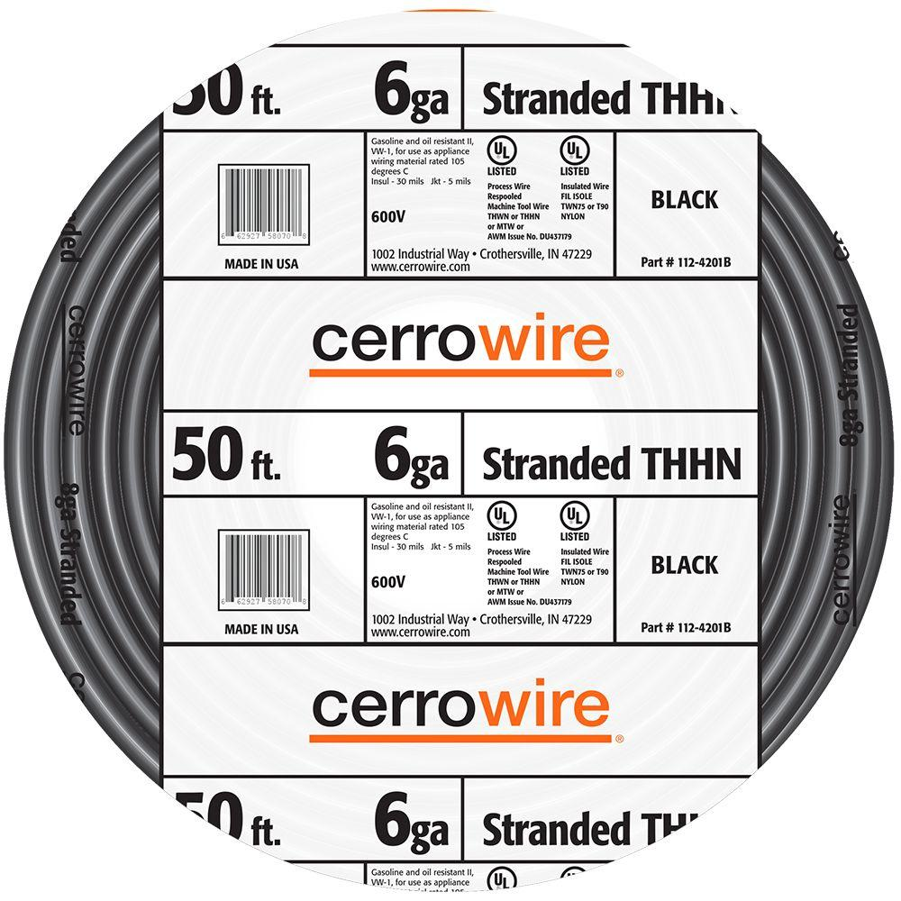 Cerrowire 50 ft. 6/1 Black Stranded THHN Wire-112-4201BR - The Home ...
