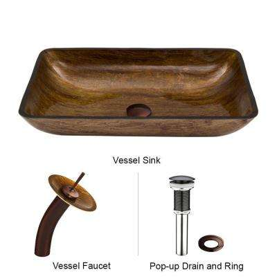 Rectangular Vessel Sink in Amber Sunset with Waterfall Faucet Set in Oil Rubbed Bronze