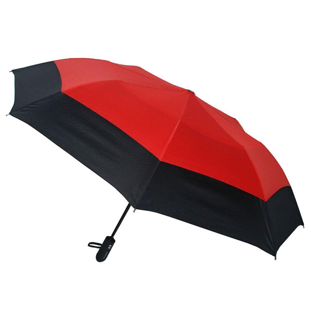 46 in. Arc Windguard Auto Open Auto Close Sport Umbrella in Black/Red