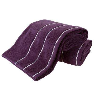 100% Zero Twist Cotton Bath Sheet Set in Eggplant and White (2-Piece)