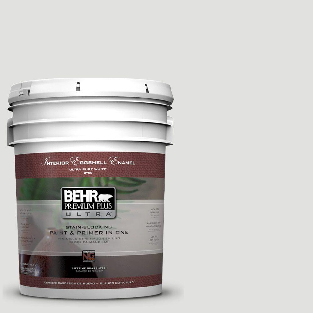BEHR Premium Plus Ultra 5 gal. #BL-W13 Silver Polish Eggshell Enamel Interior Paint and Primer in One