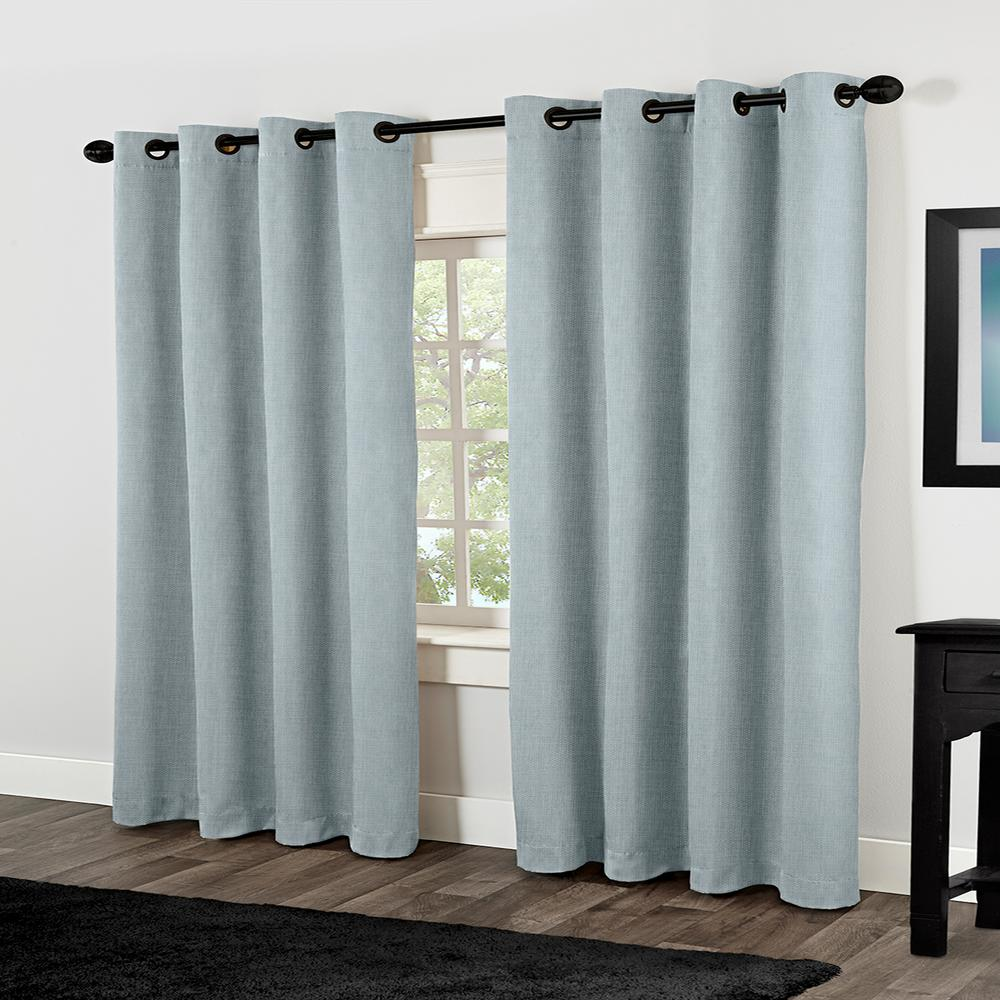 Rita Ice Blue Heavyweight Textured Linen Look Grommet Top Window ...