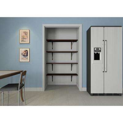12 in. D x 48 in. W x 84 in. H Espresso Solid Wood Wall Mount Pantry Closet Kit