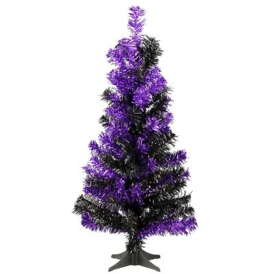 2 ft. Black and Purple Tinsel Halloween Tree