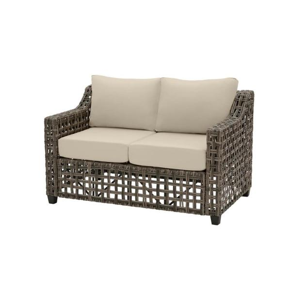 Briar Ridge Brown Wicker Outdoor Patio Loveseat with CushionGuard Putty Tan Cushions