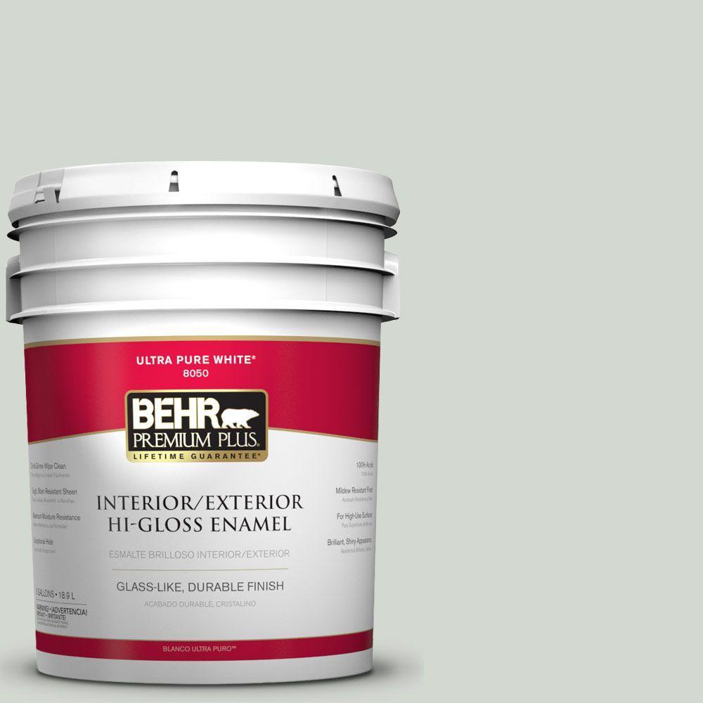 BEHR Premium Plus 5-gal. #N410-2 Brook Green Hi-Gloss Enamel Interior/Exterior Paint