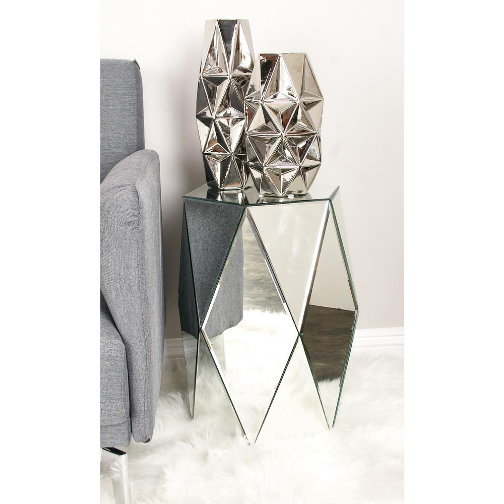 Polished Silver Geometric Cut with Hexagonal Top Pedestal
