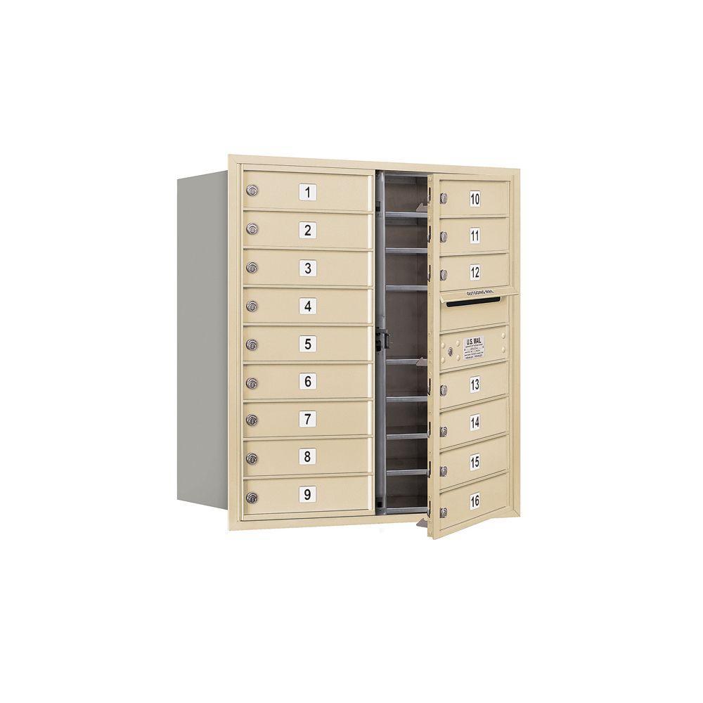 3700 Series 34 in. 9 Door High Unit Sandstone USPS Front Loading 4C Horizontal Mailbox with 16 MB1 Doors
