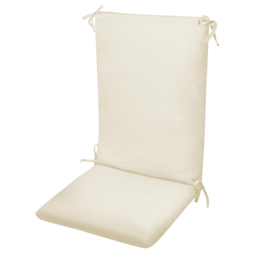 Paradise Cushions High Back Chair Cushion Knife Edge Hinged Solution Dyed Polyester Polyester Fiber Fill Natural Sun Spun Fabric
