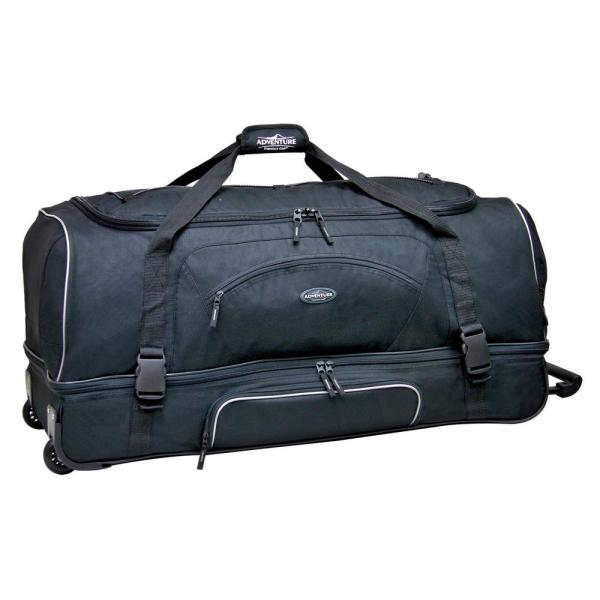Travelers Club 30 in. Black 2-Section Drop-Bottom Rolling Duffel with Telescopic