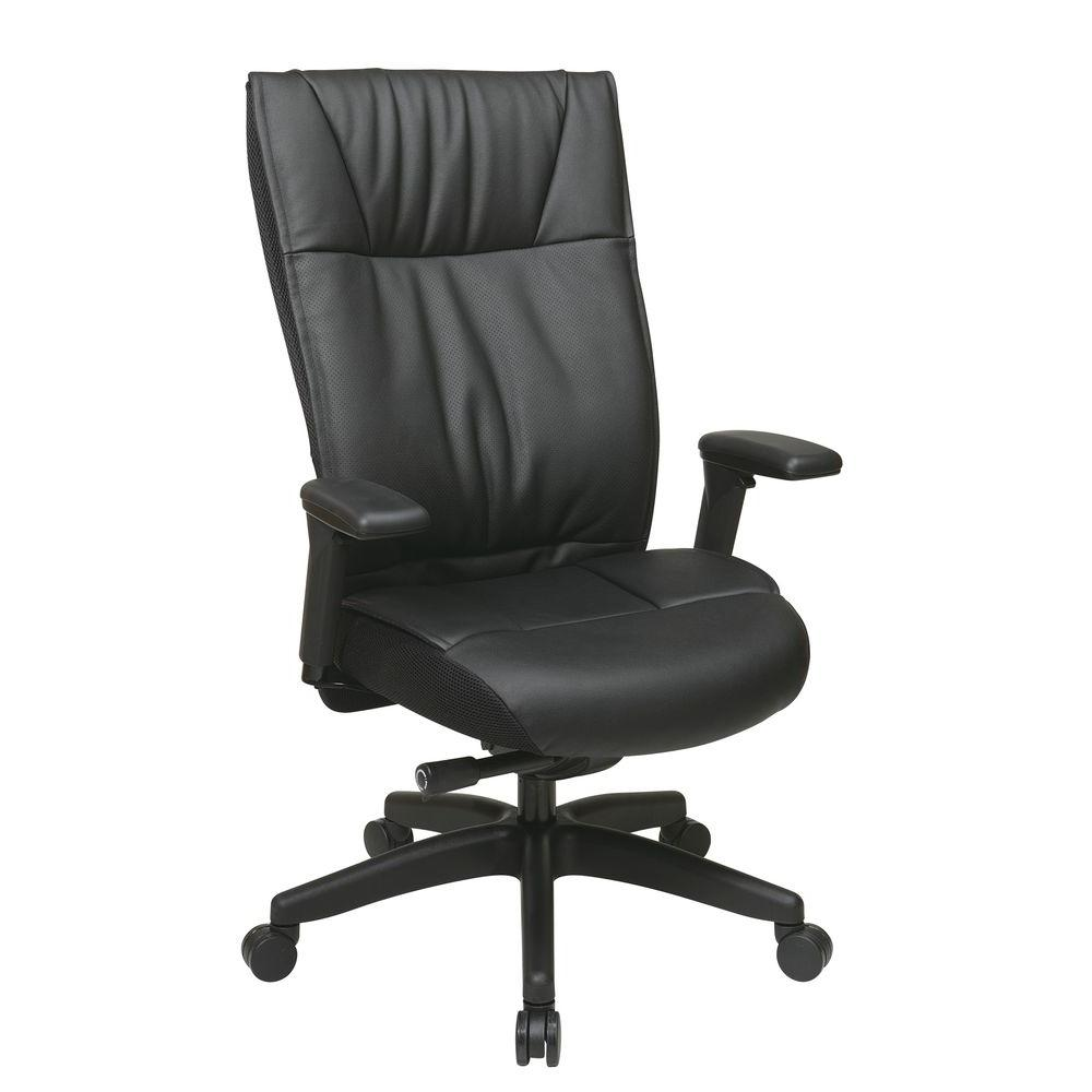 Space Seating Black Leather Executive Office Chair