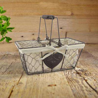 10 in. x 5 in.  Metal Basket with Heart Shaped Details and Lid with Handles