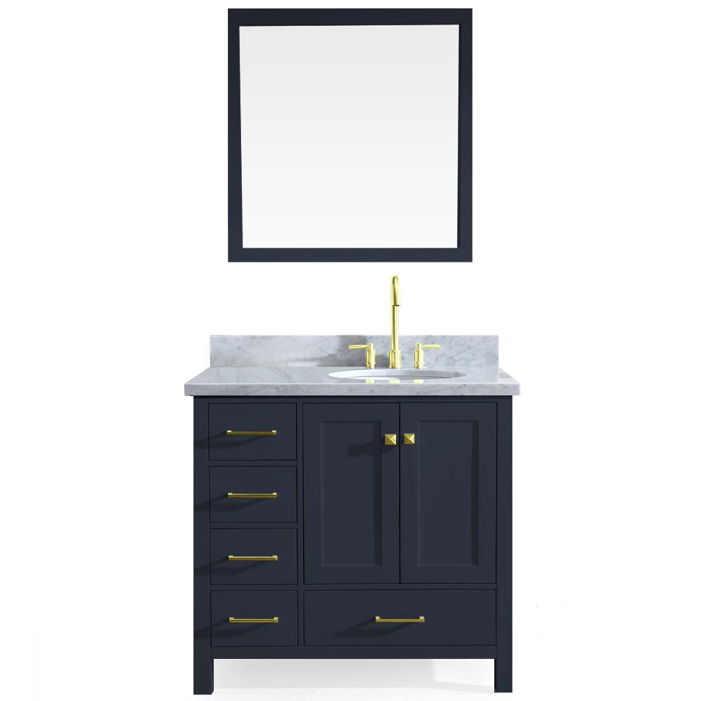 Ariel Cambridge 37 in. W x 22 in. D Vanity in Midnight Blue with Marble Vanity Top in White with White Basin and Mirror