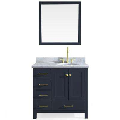 Cambridge 37 in. W x 22 in. D Vanity in Midnight Blue with Marble Vanity Top in White with White Basin and Mirror
