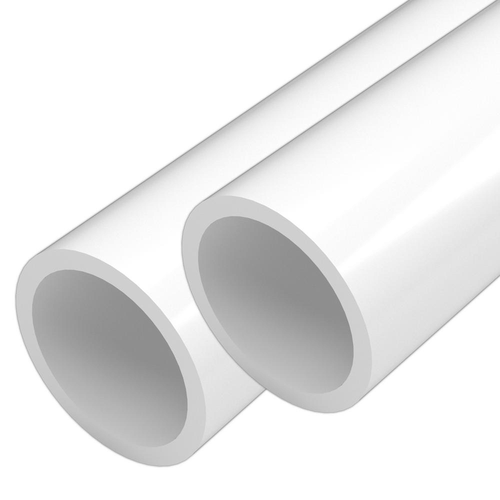 Formufit 1-1/2 in. x 5 ft. White Furniture Grade Schedule 40 PVC Pipe (2-Pack)
