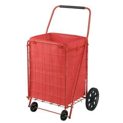 21 in. 4-Wheel Utility Cart with Liner, Red
