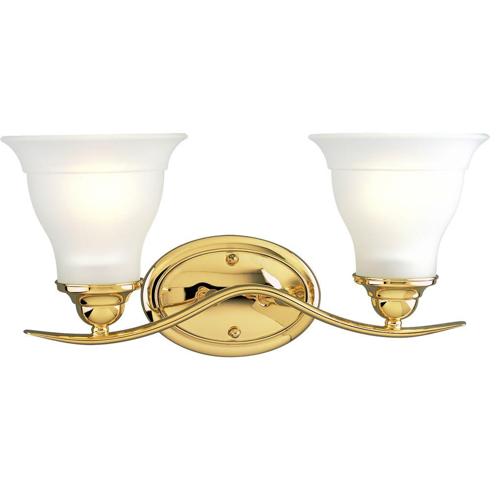Progress Lighting Trinity Collection Polished Brass 2-Light Vanity Fixture-DISCONTINUED