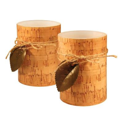 4 in. Cork with Leaf Flameless Candles (set of 2)