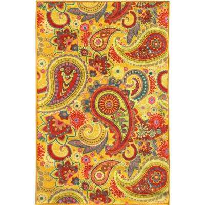 Sweet Home Collection Paisley Design Yellow 5 ft. x 7 ft. Indoor Area Rug