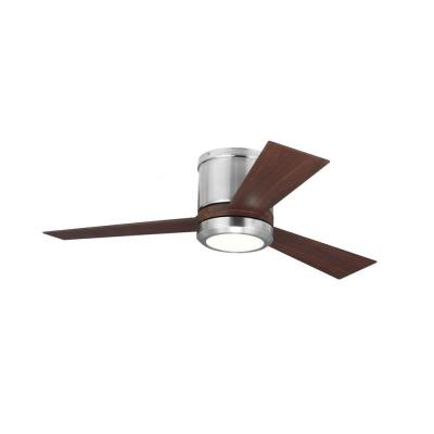 Clarity II 42 in. Integrated LED Brushed Steel Flush Mount Ceiling Fan with Teak Blades and Remote Control