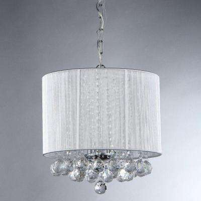 Platter Crystal 3-Light Chrome Chandelier with White Shade