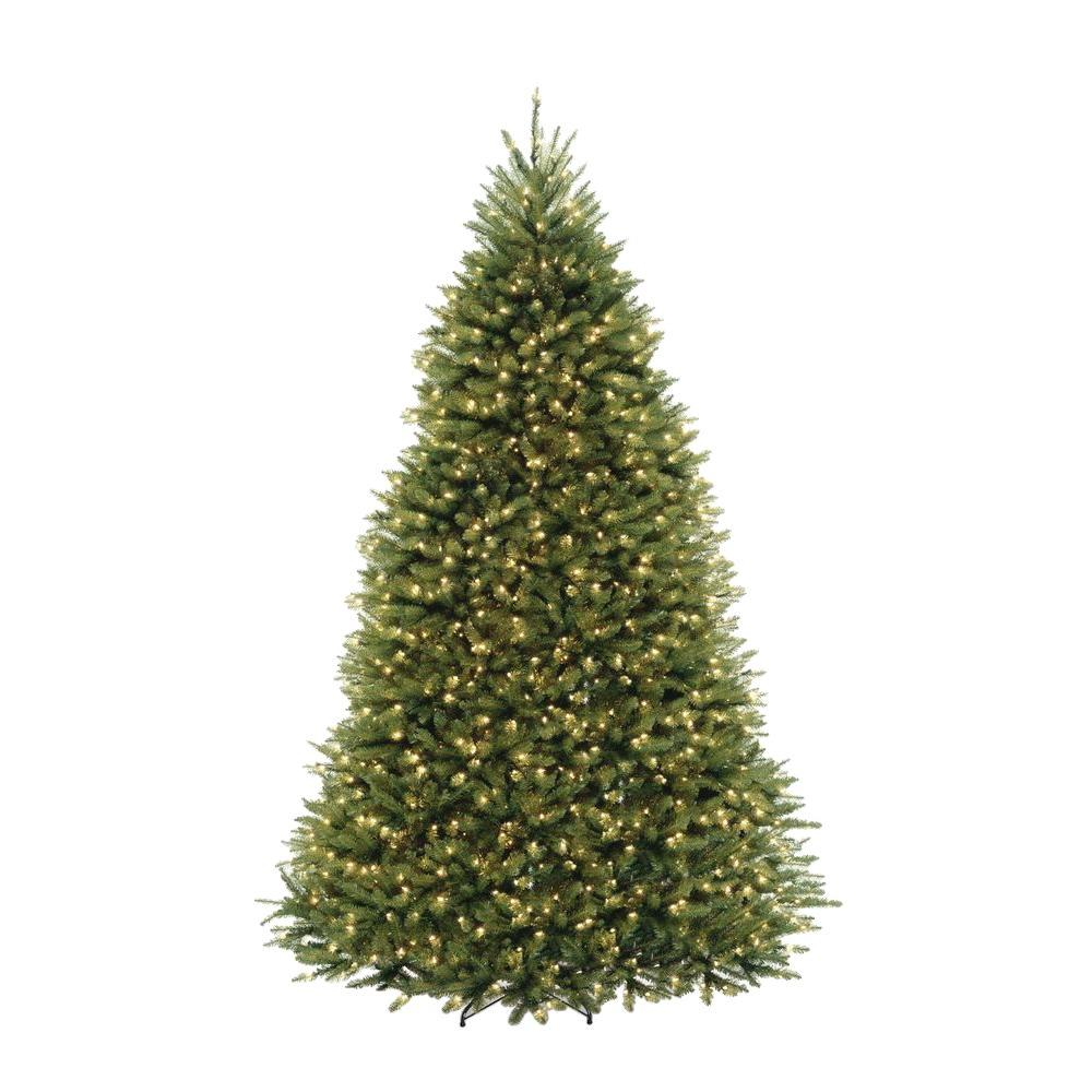 9 ft. Pre-Lit Dunhill Fir Hinged Artificial Christmas Tree with ...