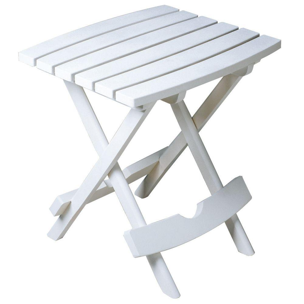 Adams Manufacturing Quik Fold White Resin Plastic Outdoor Side Table