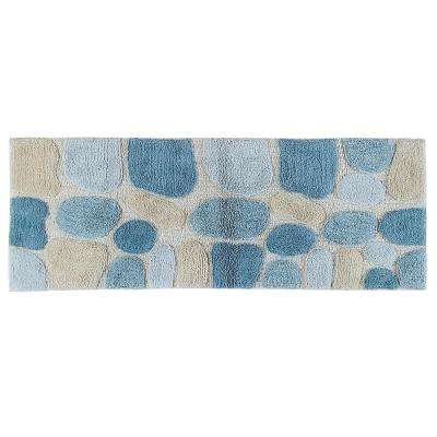 Pebbles Aquamarine 24 in. x 60 in. Bath Rug Runner