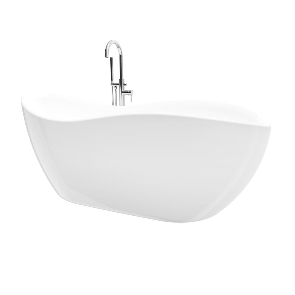 A&E Bath & Shower Kyan 68 in. Acrylic Freestanding Flatbottom Non-Whirlpool Bathtub in White All-in-One Kit