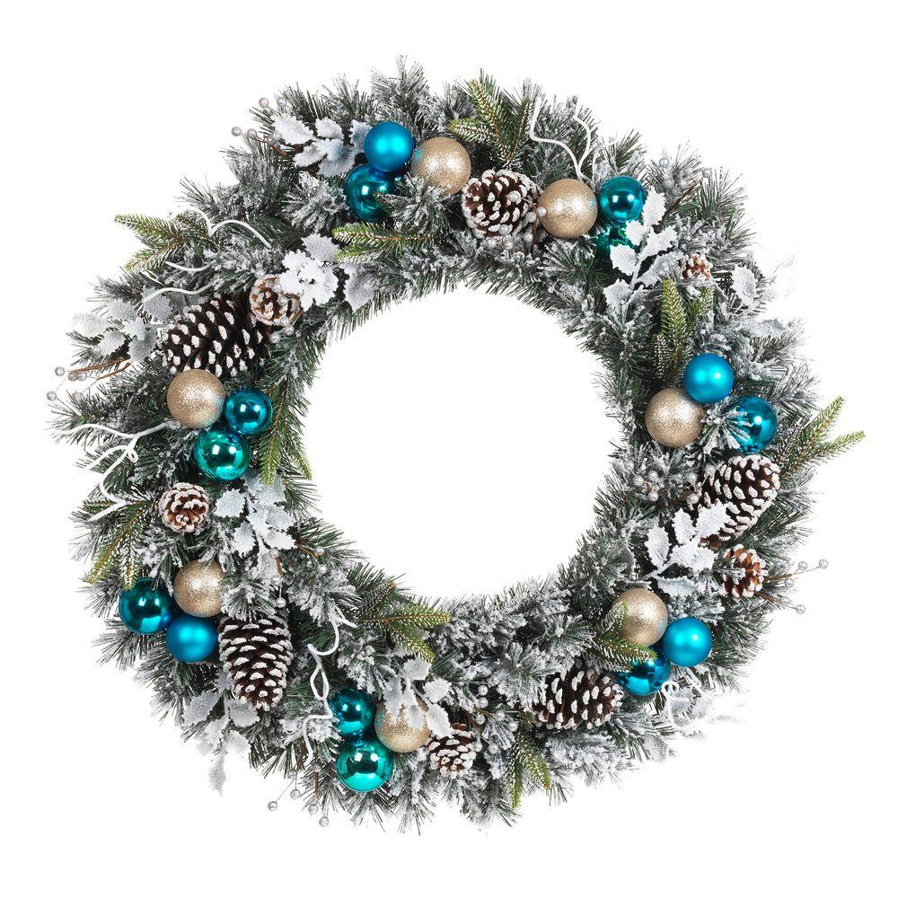 Home Accents Holiday 30 in. Flocked Pine Artificial Wreath with Blue Plate Balls