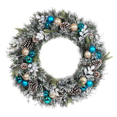 30 in. Flocked Pine Artificial Wreath with Blue Plate Balls