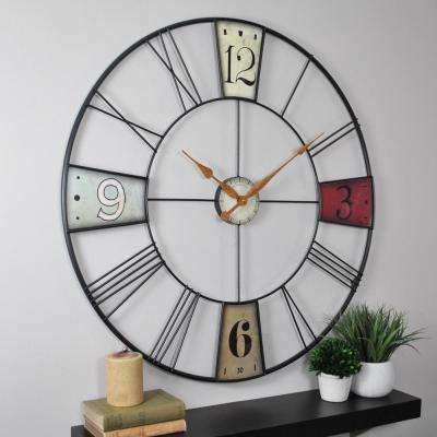 36 in. Multi-Color Oversized Vibrant Plaques Wall Clock